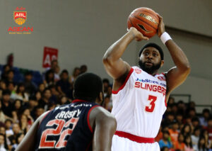 Hassan Adams shoots over Laskar Dreya's Paul Crosby. Adams finished with 21 points in his debut for the Slingers.
